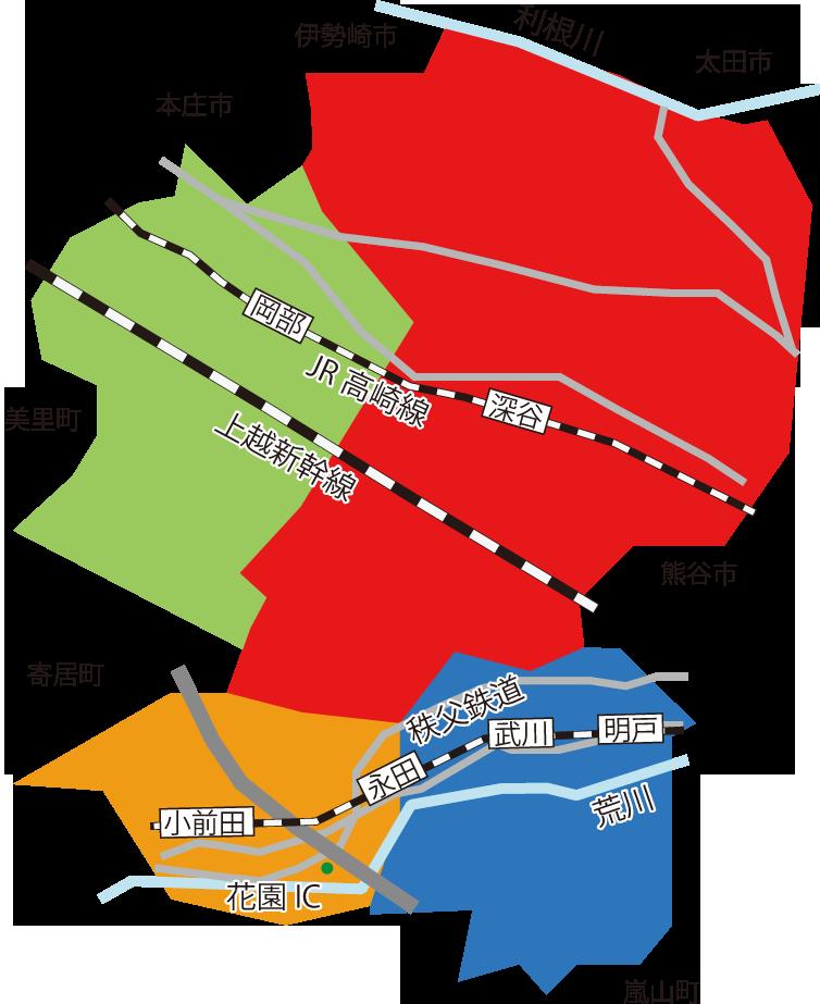 深谷市エリアマップ